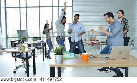 Diversity Creative Office Teamwork Celebrate Dance On Call Meeting Happiness. Multiethnics Business