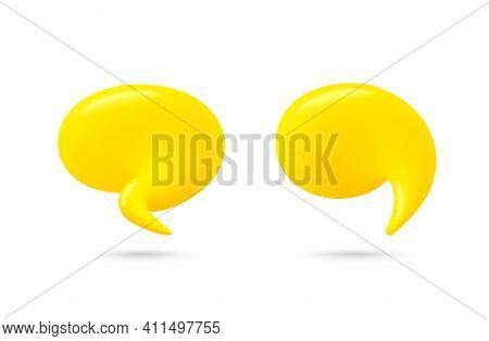 Chat Speech Bubble Set. Yellow 3d Talk Balloon. Think And Speak Cloud With Smooth Blend. Cartoon Dia