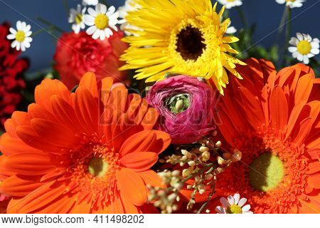 Bouquet Of Wonderful Fresh Summer Flowers With Dahlia And Sunflower