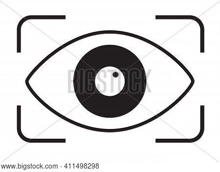 Eye Scan Icon On White Background. Retina Scan Sign. Black Security Lock Logo. Flat Style. Retina Ch
