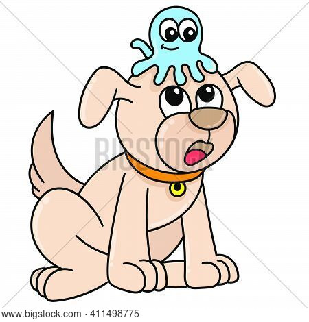 Dog And Jellyfish Are Friends Doodle Kawaii. Doodle Icon Image. Cartoon Caharacter Cute Doodle Draw