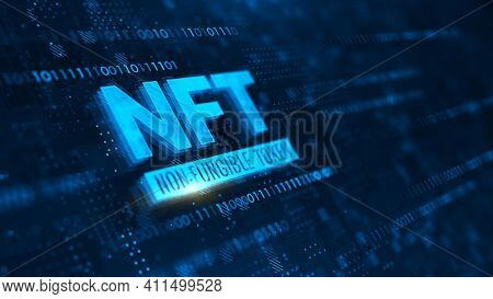 NFT nonfungible tokens concept on dark blue background. 3d rendering