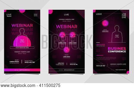 Set Of Dark Purple Modern Background For Social Media Stories Post Template, Business Webinar, Marke