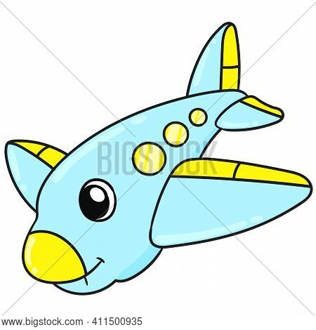 Airplane With A Cute Face Doodle Kawaii. Doodle Icon Image. Cartoon Caharacter Cute Doodle Draw