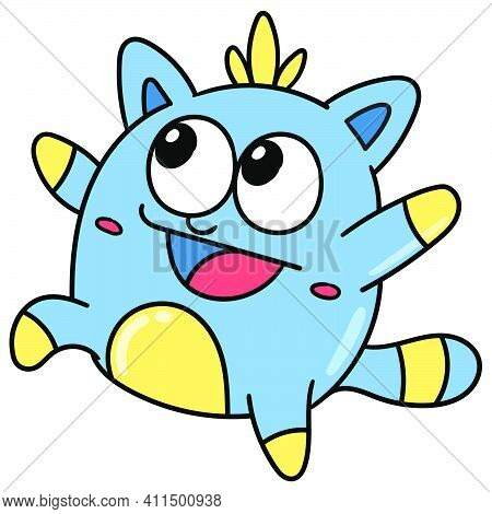 Yellow Blue Cute Monster Is Having Fun Doodle Kawaii. Doodle Icon Image. Cartoon Caharacter Cute Doo