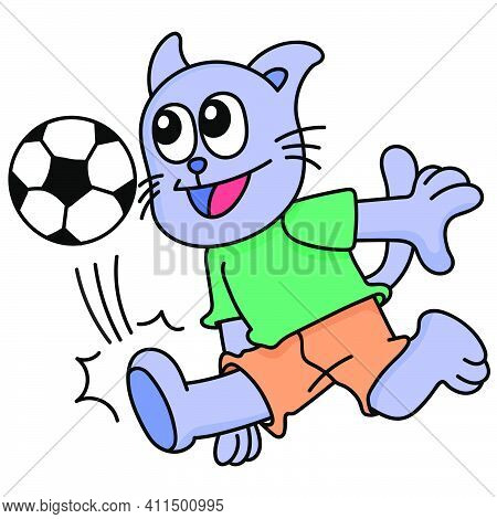 Cat Playing Soccer Sport Doodle Kawaii. Doodle Icon Image. Cartoon Caharacter Cute Doodle Draw