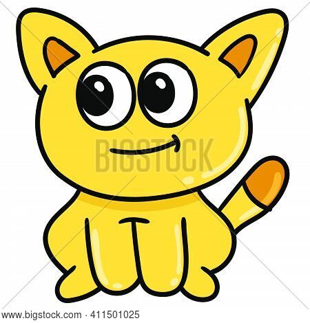 Cute Cute Yellow Kitten Doodle Kawaii. Doodle Icon Image. Cartoon Caharacter Cute Doodle Draw