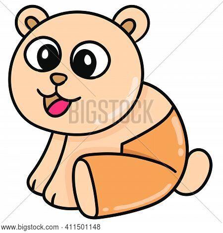 Panda Cub Is Orange Doodle Kawaii. Doodle Icon Image. Cartoon Caharacter Cute Doodle Draw