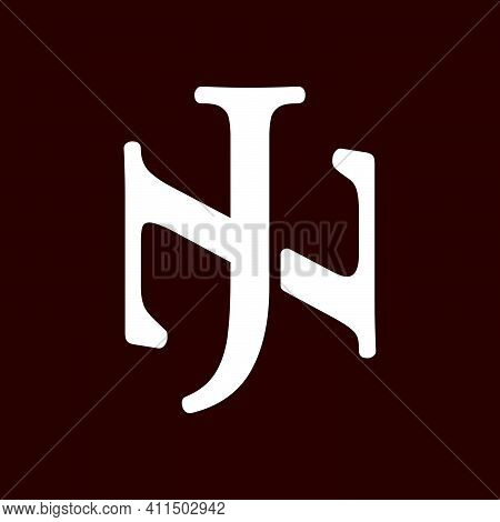 Initial Letter Nj Or Jn Logo Template With Vintage Font Illustration In Flat Design Monogram Symbol