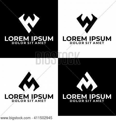 Initial Letter Hw, Wh, Bw, Wy, Ms, Sm, My Logo Template Set With Geometric Abstract Gothic Illustrat