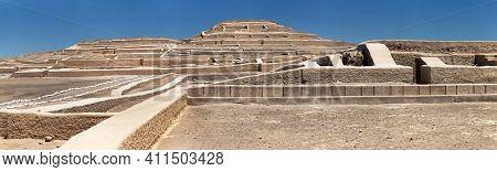 Nasca Or Nazca Pyramid Ruins At Cahuachi Archeological Site In The Nazca Desert Of Peru, Panoramic V