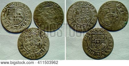 Three silver coins of Poland 17th century, view from both sides, rare