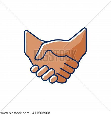 Handshake Rgb Color Icon. Successful Business Deal. Partnerships. Mutually Beneficial Deal. Reaching