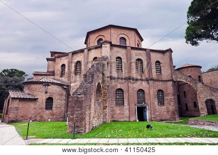 outdoor view of Basilica of San Vitale - ancient church in Ravenna Italy poster