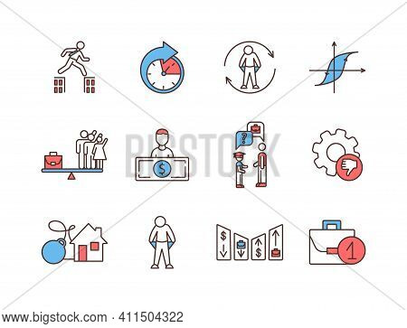 Unemployment Rgb Color Icons Set. Searching For Better Job. Underemployment. Work-life Balance. Perm