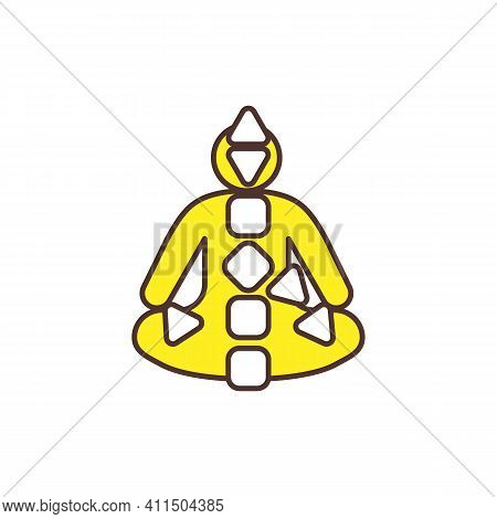 Energy Centers In Body Activation Rgb Color Icon. Spiritual Chakras Restoration And Awakening. Conne