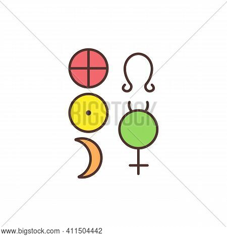 Esoteric And Occult Symbols Rgb Color Icon. Sacred, Holy Signs. Invisible Grace. Esotericism. New Ag
