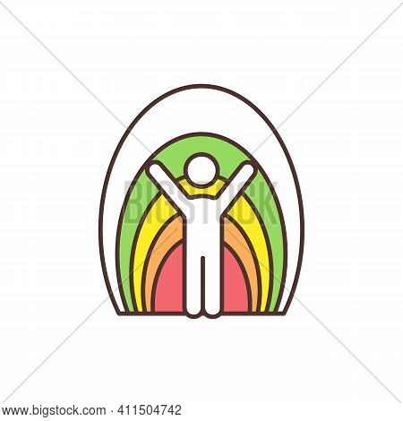 Aura Rgb Color Icon. Human Energy Field. Vibrant Color Rays Flowing Around Living Things. Luminous B