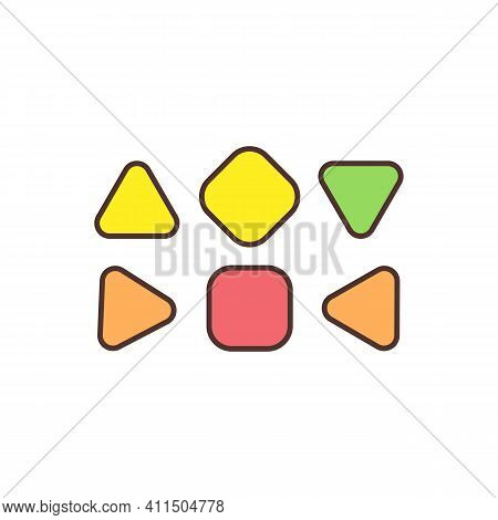Human Design Energy Centers Rgb Color Icon. Geometric Shapes Inside Bodygraph. Focal Points. Energy
