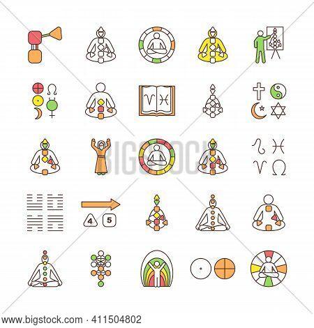 Human Design Rgb Color Icons Set. Bodygraph Chart Explanation. Aura. Reflector, Generator, Projector