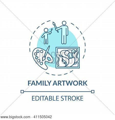 Family Artwork Concept Icon. Indoor Family Activities. Creating Beautiful Artworks With Children. Ki
