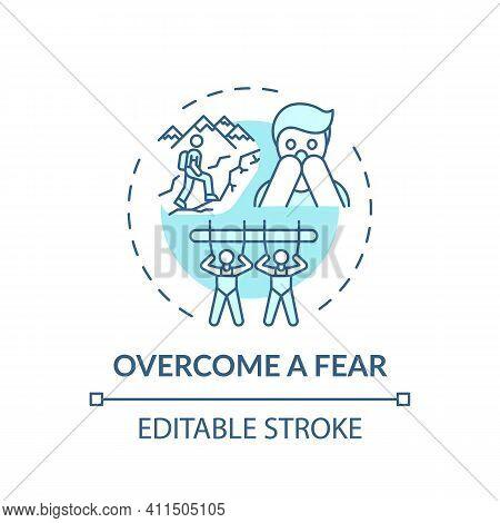 Overcome A Fear Concept Icon. Family Bonding Tips. Afraid Of Lifestyle Improving. Positive Imaginati