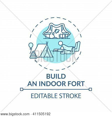 Build An Indoor Fort Concept Icon. Family Bonding Tips. Creating Interesting Place To Play For Kids.