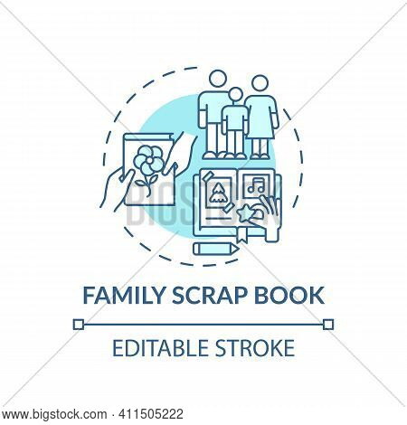 Family Scrap Book Concept Icon. Family Bonding Tips. Creating History Of Your Family Photo Album. Ac