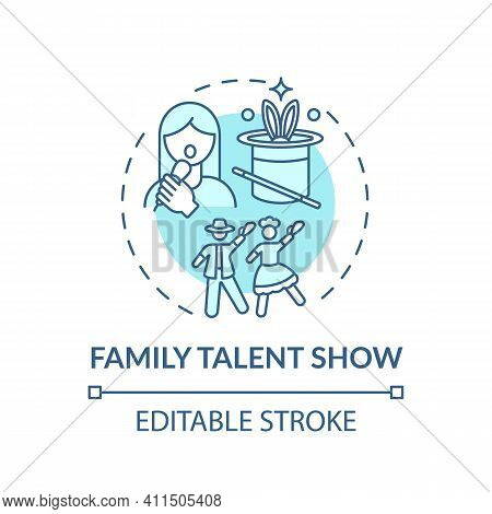 Family Talent Show Concept Icon. Family Fun Ideas. Time To Show Skills Of Parents And Kids. School A