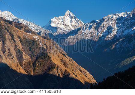Mount Nanda Devi, One Of The Best Mounts In India Himalaya, Seen From Joshimath Auli,  Uttarakhand,