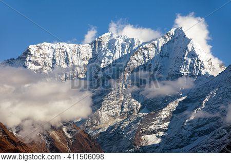 Himalayas In Khumbu Valley Near Namche Bazar, Mount Everest Area, Nepal Himalaya Mountain