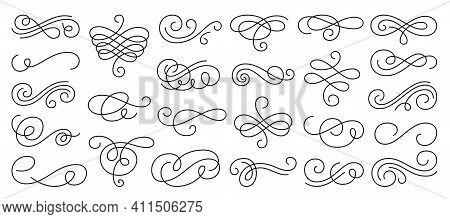 Calligraphic Swirl Ornament, Line Style Flourishes Set. Filigree Ornamental Curls. Decorative Design