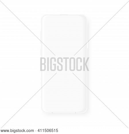 Modern White Mockup Smartphone. Realistic Frame With Blank Display. Template Design For Presentation