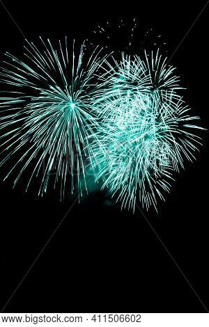 Luxury Fireworks Event Sky Show With Turquoise Big Bang Stars. Premium Entertainment Magic Star Fire