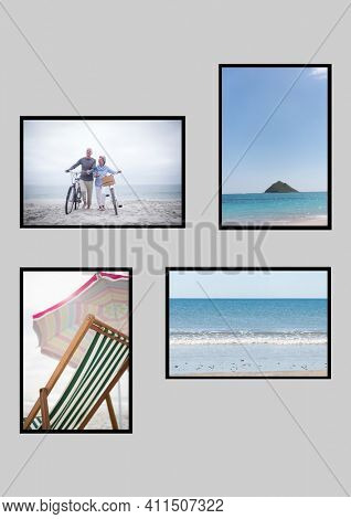 Composition of four beach and seaside images with deckchair and couple wheeling bicycles. seaside holiday and beach leisure concept, digitally generated image.