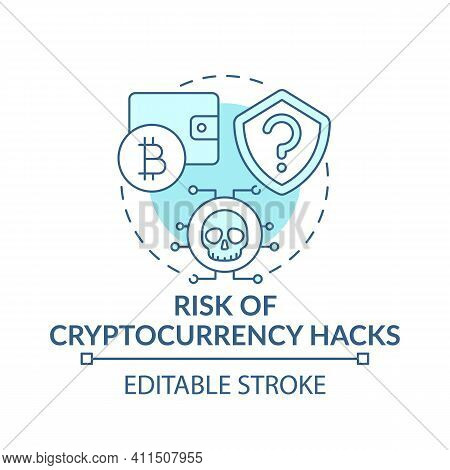 Risk Of Cryptocurrency Hacks Concept Icon. Earning Bitcoin Idea Thin Line Illustration. Hacks And Da