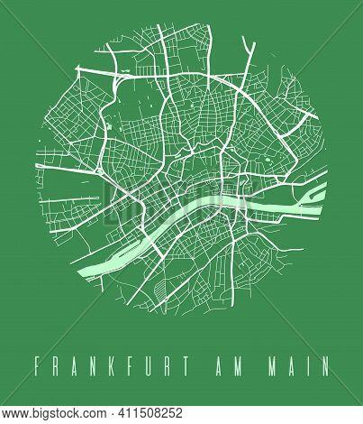 Frankfurt Map Poster. Decorative Design Street Map Of Frankfurt Am Main City. Cityscape Aria Panoram