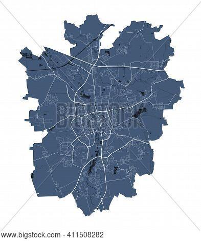 Braunschweig Map. Detailed Vector Map Of Braunschweig City Administrative Area. Cityscape Poster Met