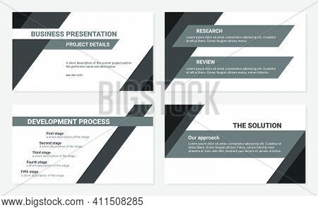 Business Presentation Design Template. Development Process, Solution, Research And Review. Simple Fl