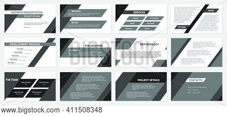 Business Presentation Design Template. Development Process, Solution, Services, Research And Review.