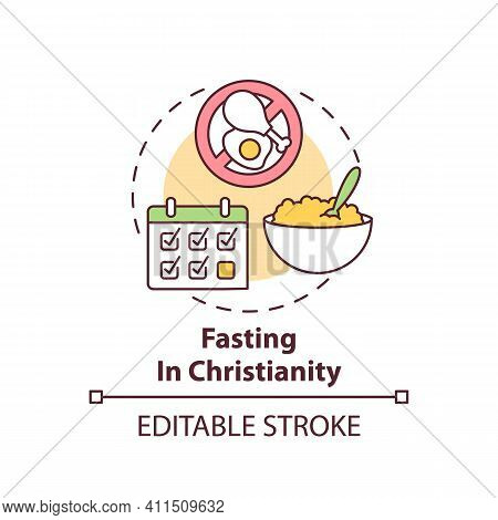 Fasting In Christianity Concept Icon. Catholic Culture. Calender Dates. Great Lent. Religious Tradit