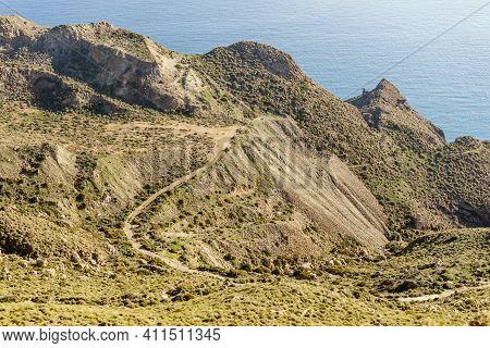 Coastal Landscape, Mesa Roldan Headland In Province Almeria, Andalusia Spain. Cabo De Gata Natural P