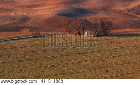 Chapel Of St. Barbara In The Beautiful Landscape Of Moravian Tuscany In The Czech Republic. The Chap