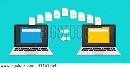 Transfer File Of Data Between Laptop. Transmission Of Document Between Computer. Backup Of Informati