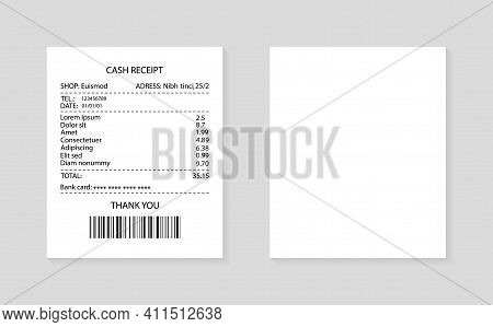 Paper Receipt. Invoice For Purchase In Supermarket. Cash Bill For Payment In Restaurant. Print Paper