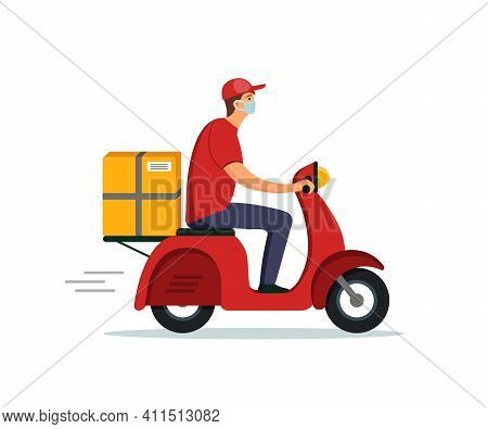 Food Delivery. Courier Service On Motorcycle. Fast Delivery Of Food From Restaurant. Man On Scooter