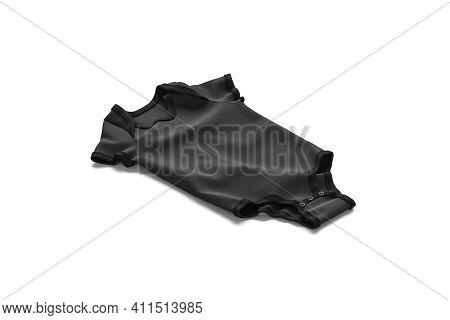 Blank Black Half Sleeve Baby Bodysuit Mock Up Lying, Isolated, 3d Rendering. Empty Textile Babe Cree