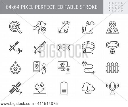 Pet Tracking Line Icons. Vector Illustration Include Icon - Trace, Collar, Microchip, Magnifier, Bat