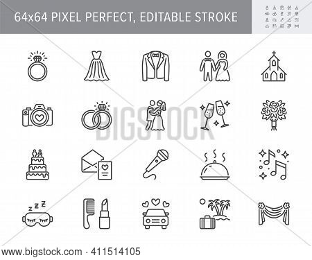 Wedding Timeline Line Icons. Vector Illustration Include Icon - Bouquet, Ring, Bouquet, Tuxedo, Groo