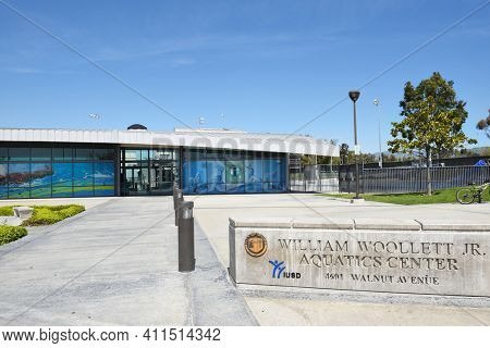 IRVINE, CA - MARCH 24, 2017: William Woollett Aquatics Center. A venue for local, regional and national competitive events and features two 50 meter pools and a 25 yard instruction pool.